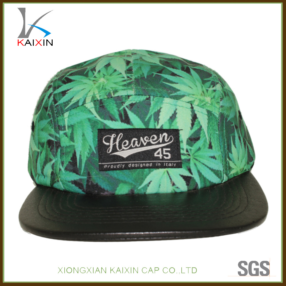 e260a395015 China Custom Leather Brim Leaf Printed 5 Panel Camper Hat with Leather  Strap - China 5 Panel Hat