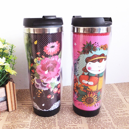 china insert paper stainless steel travel mug gift cup china