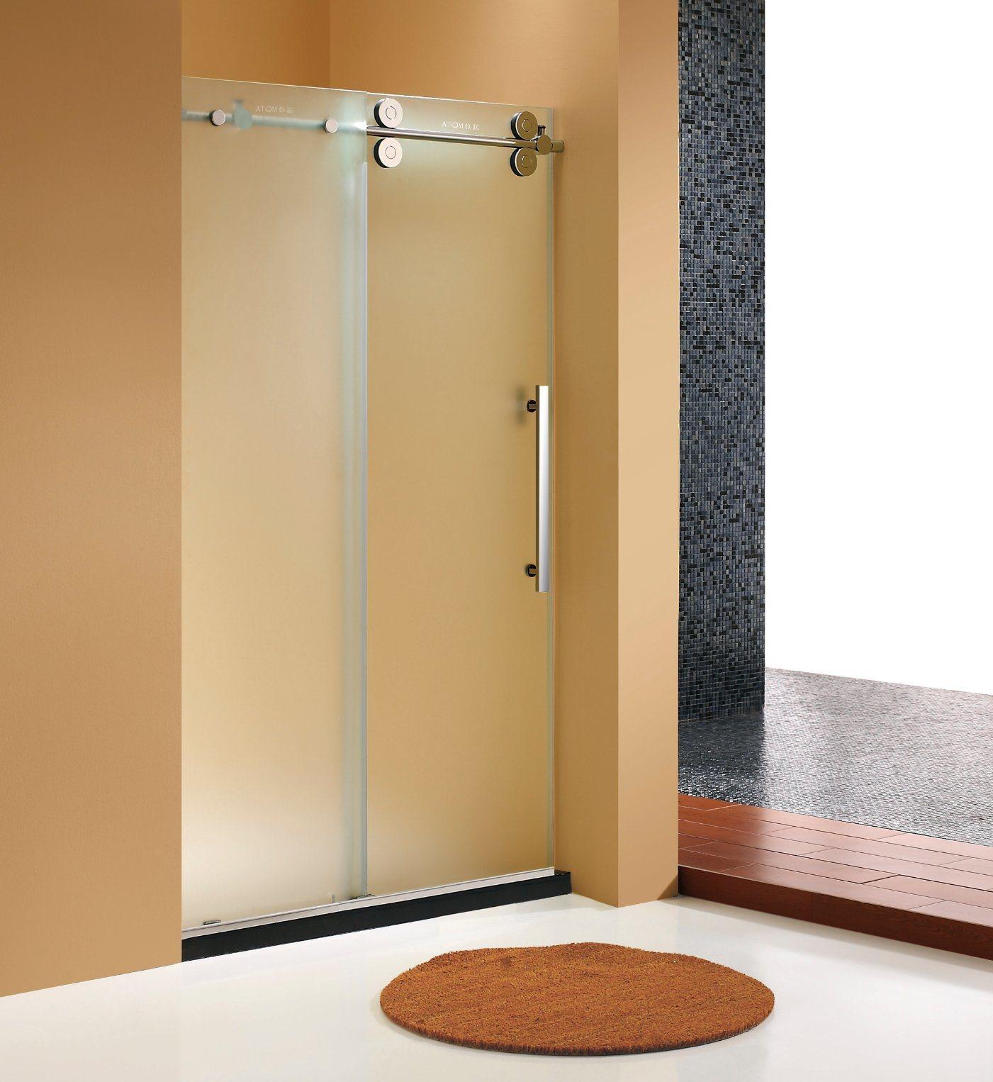 China Elegant Deisgn Big Roller Frosted Glass Sliding Shower Door