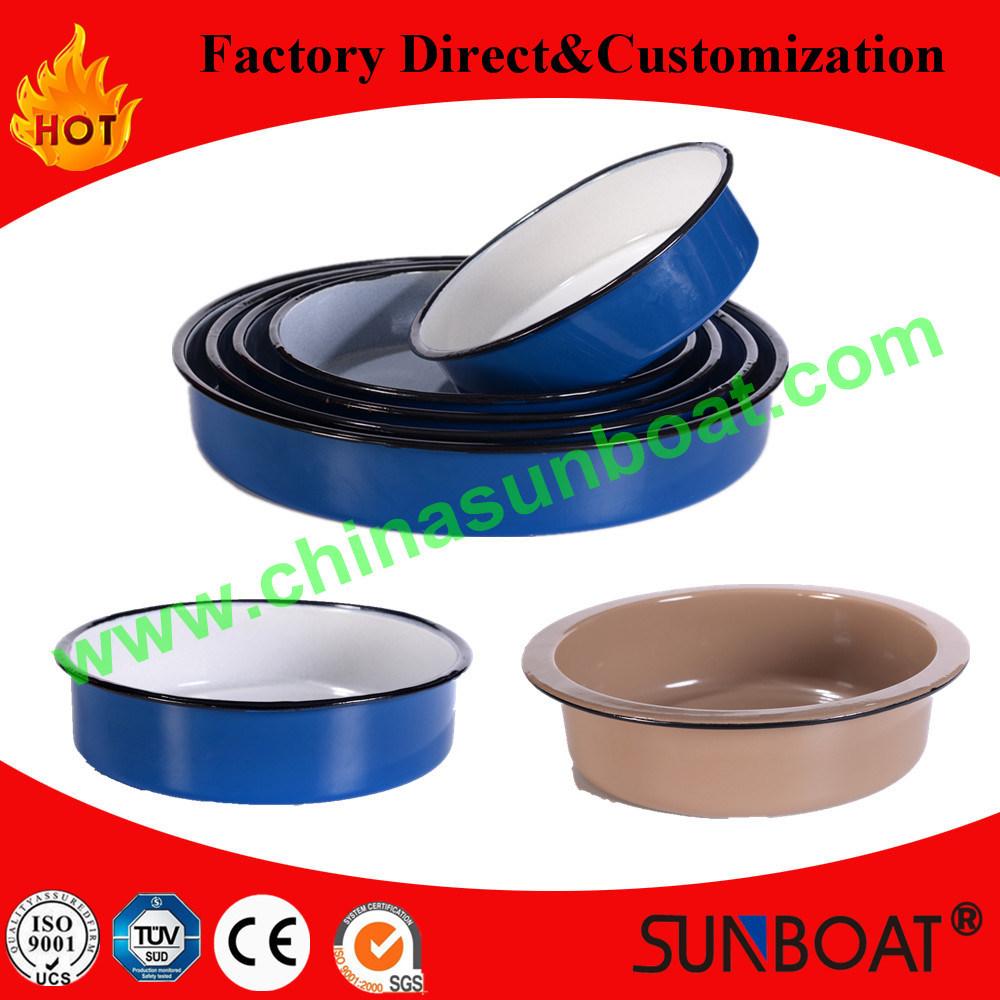 China 24 6cm Carbon Steel Kitchenware Enamel Round Tray