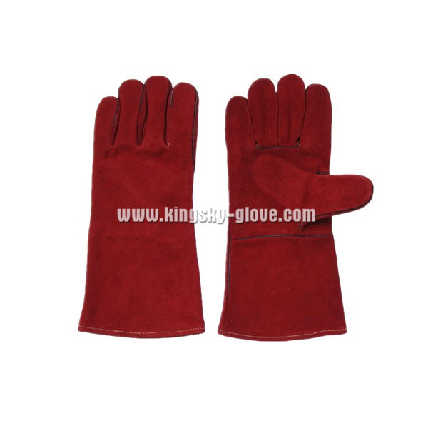 Cow Split Leather Wing Thumb Welding Working Glove (6504. RD) pictures & photos