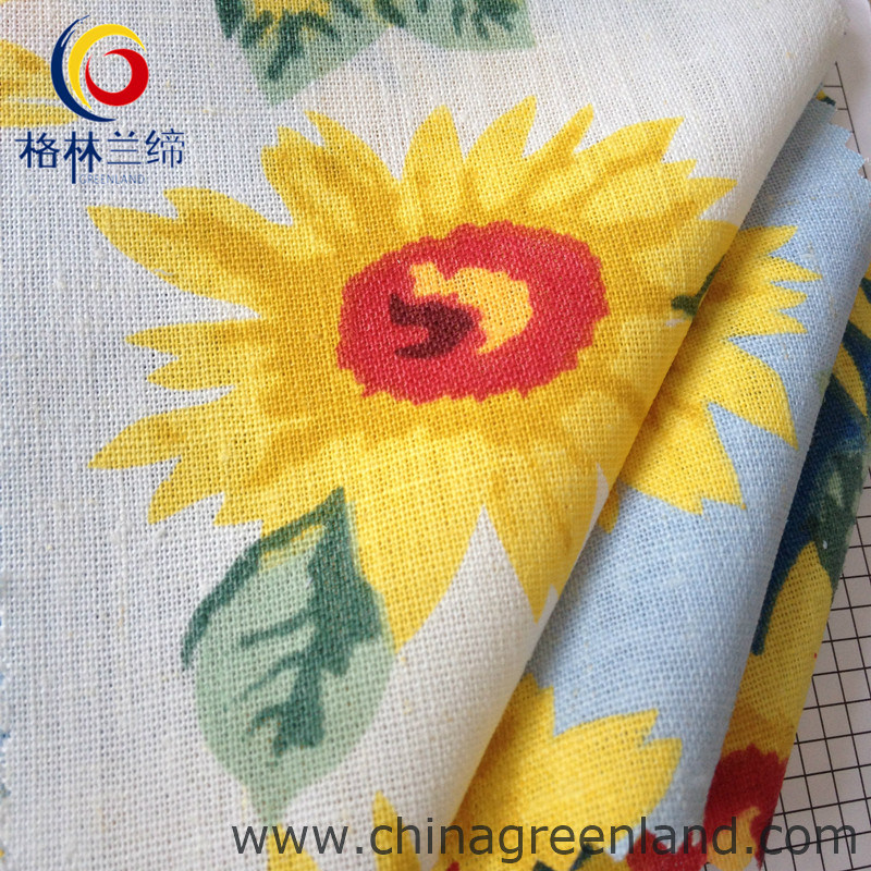 Cotton Linen Printed Woven Fabric for Shirt Garment Textile (GLLML059)