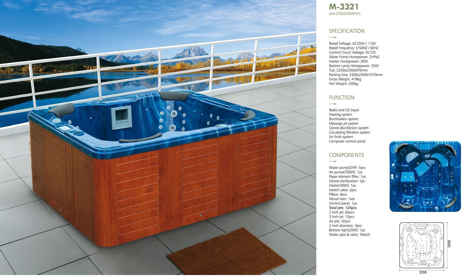 China 2.2 Meters Ocean Blue Square Whirlpool SPA for 6 People ...