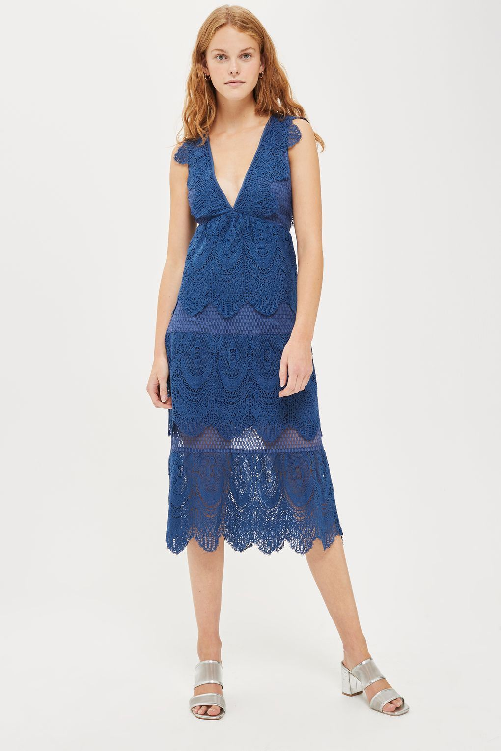 Hot Item Sexy Blue Women Deep V Neck Tiered Lace Midi Maxi Dresses