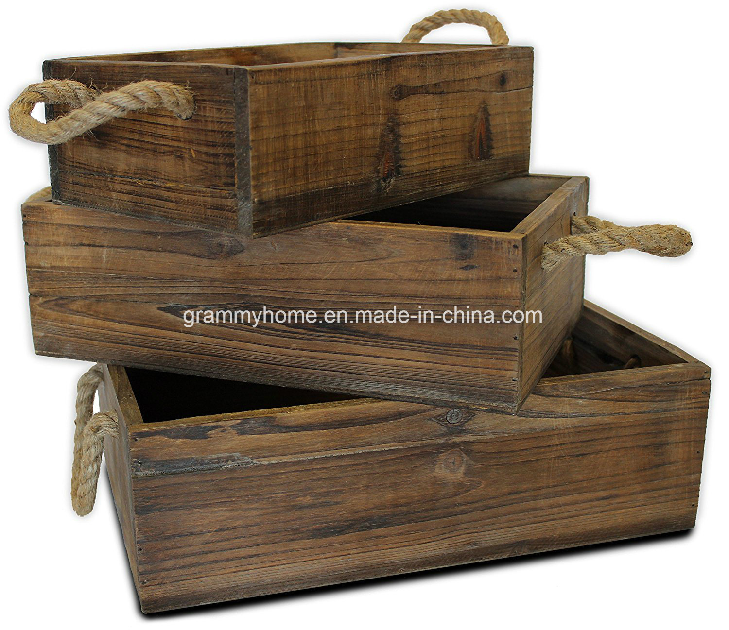 Hot Item Rustic Vintage Wooden Flower Planter Box With Rope Handles