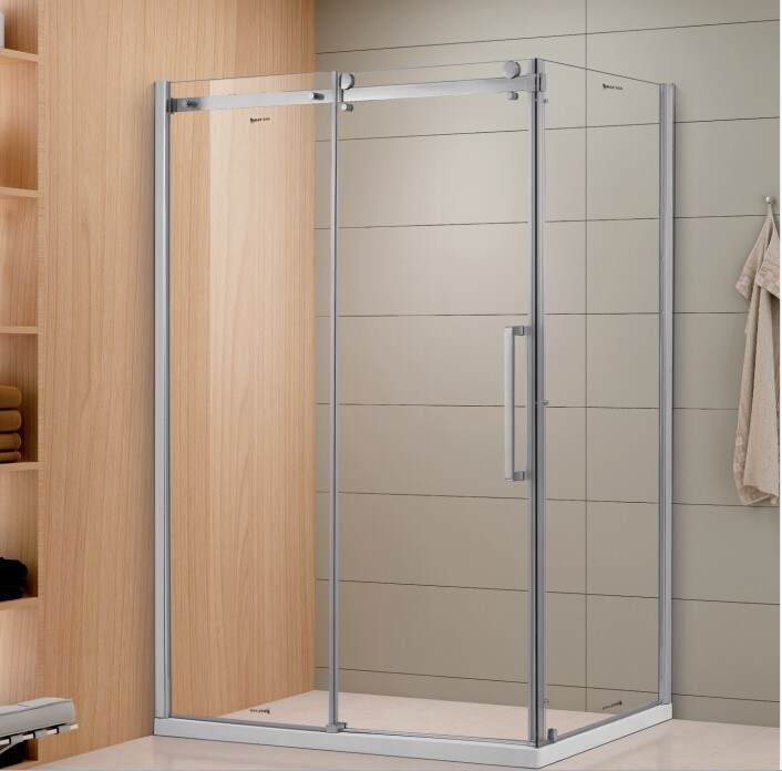 Hot Item Sally 8mm Frameless Sliding Gl Shower Door With Fixed Side Panel And Twin Roller Wheels Enclosure