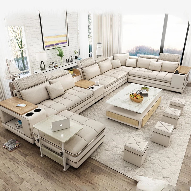 Leather Living Room Sofa Set 7 Seater, Leather Living Room Furniture