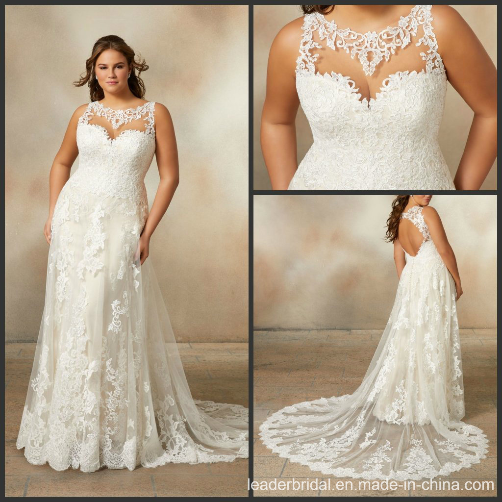 [Hot Item] Beach Bridal Gowns Plus Size Custom Lace Wedding Dresses M5705