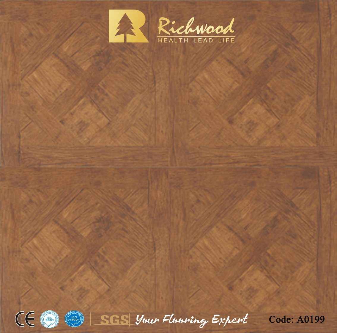 China Stone Texture Teak Water Resistant Laminate Wooden Parquet