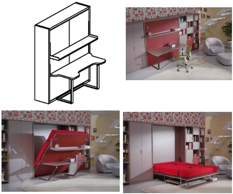Modern Vertical Tilting Folding Wall Bed Withtable and Shelf