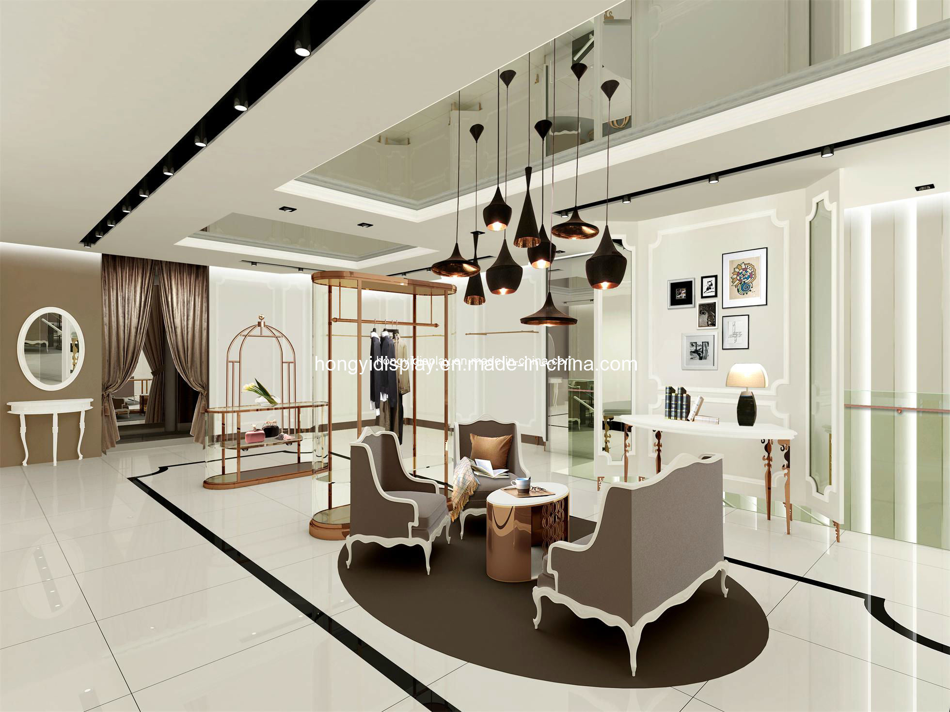 china high end garments showroom display lady clothing shop interior design store display. Black Bedroom Furniture Sets. Home Design Ideas