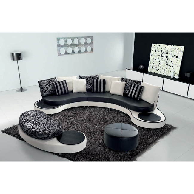 [Hot Item] Latest Round Sofa Design Black and White Leather Sofa 8023