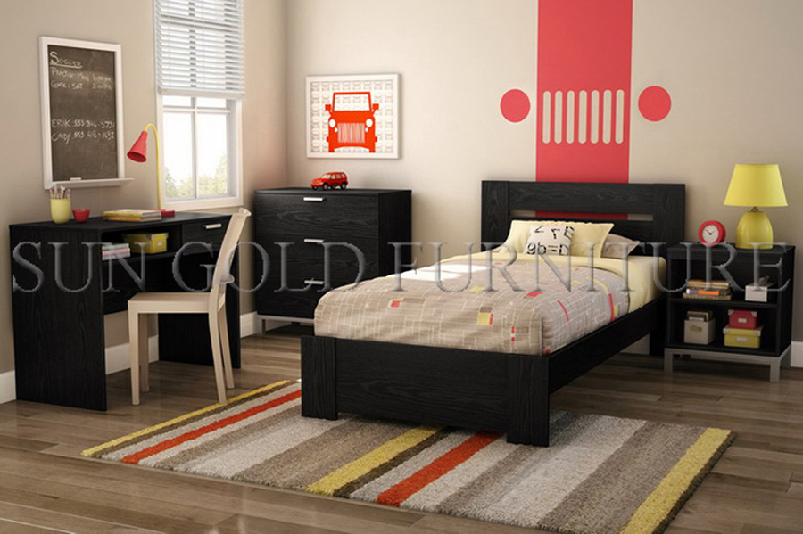 China Modern Black Apartment Bedroom Furniture Set For College Student Sz Bf075
