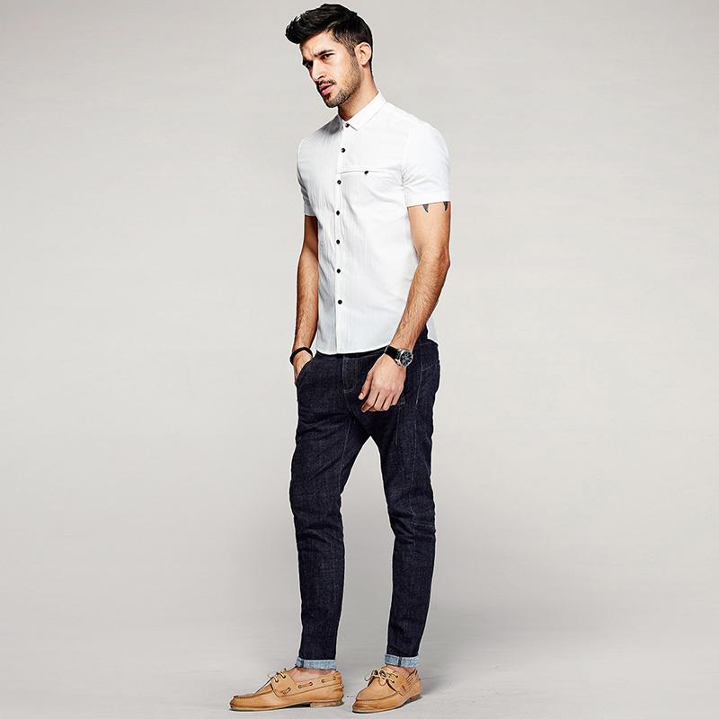Hot Item Plain White Dress Office Short Sleeve Shirt For Men Square Collar