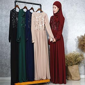 pretty cheap hot sale lowest discount China Turkey Women Clothes Slim Sequins Chiffon Abaya Muslim Long ...