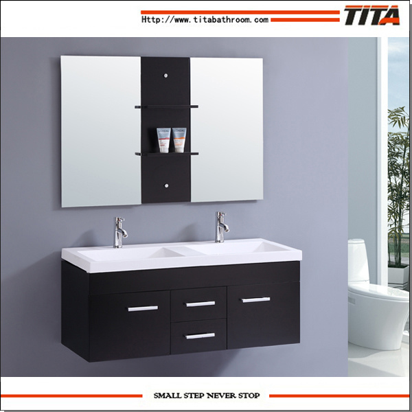 Hot Item Floating Wall Mounted Bathroom Cabinet With Two Faucets And Double Sinks