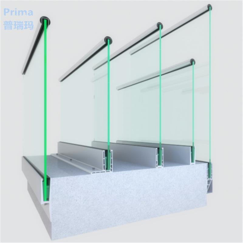 China Balcony U Channel Base Frameless Glass Balustrade Aluminum U