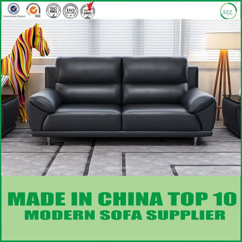 China Modern Living Room Set Black Leather Chesterfield Sofa ...