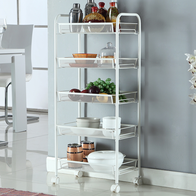 China 5 Tier Metal Material Food Storage Shelf Cart Kitchen ...