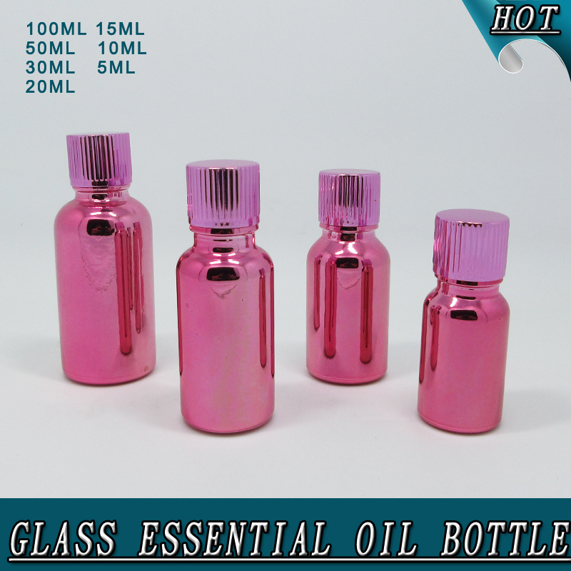 Wholesale New Design Customized Electroplated Rose Red Glass Essential Oil Bottle pictures & photos