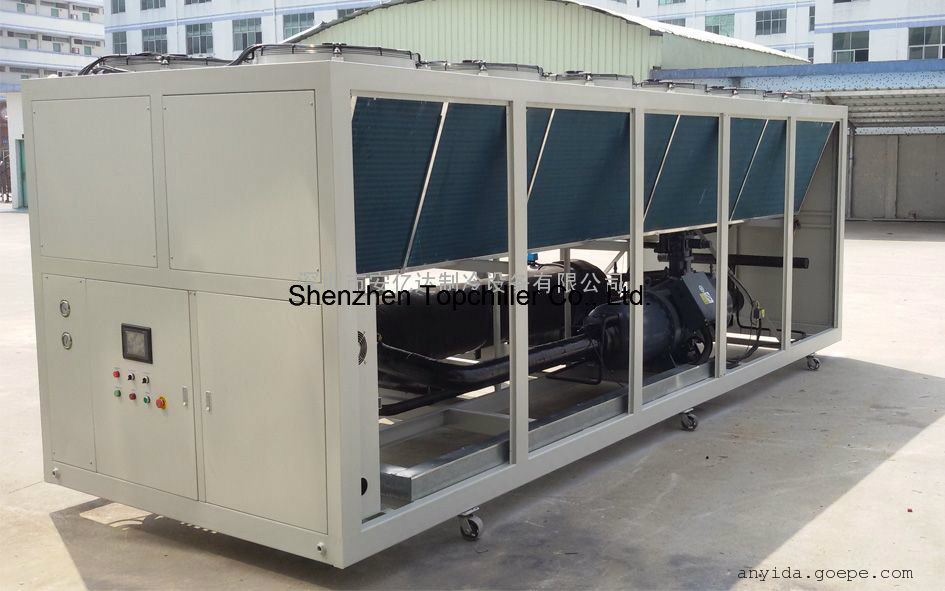 120-180HP Cooling Capacity Air Cooled Water Chiller in Plastic Factory