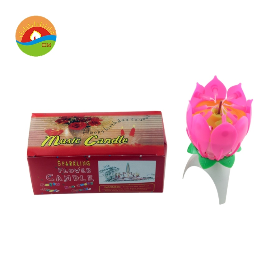 China Firework Sparkling Lotus Flower Music Candles With Single