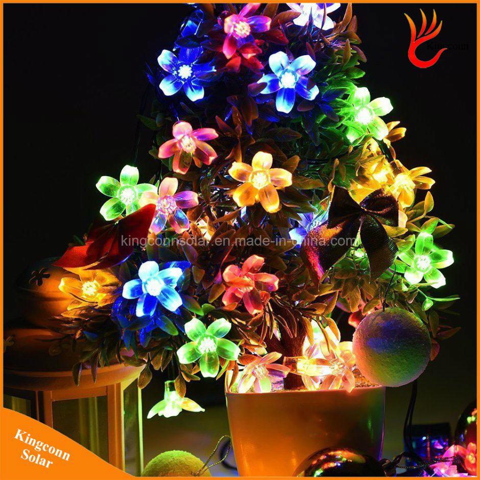 50led flower garden solar fairy string lights for christmas decoration - Solar Garden Christmas Decorations