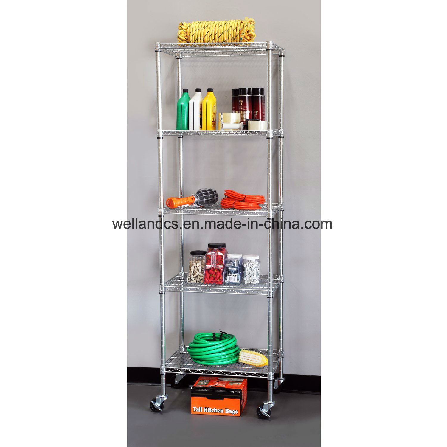 China 5-Tier Zinc Coated NSF 500lbs Garage Steel Wire Shelving with ...