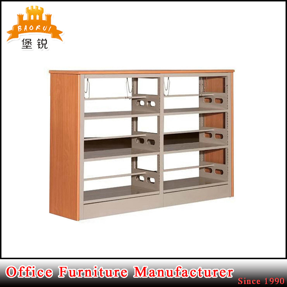 Library Used Wood Color Double Side Metal Bookshelf pictures & photos