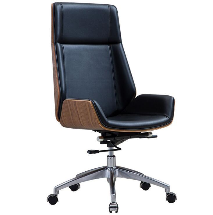 promo code c0716 94daf [Hot Item] Luxury Bent Plywood Wooden Office Chair Office Executive PU  Leather Boss Chair (FECNW009)