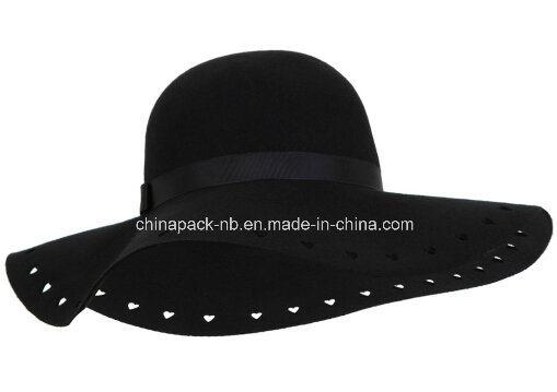 e1250d79cfa China Black Heart Cut out Floppy 100% Wool Hats (CPA 22033) - China ...
