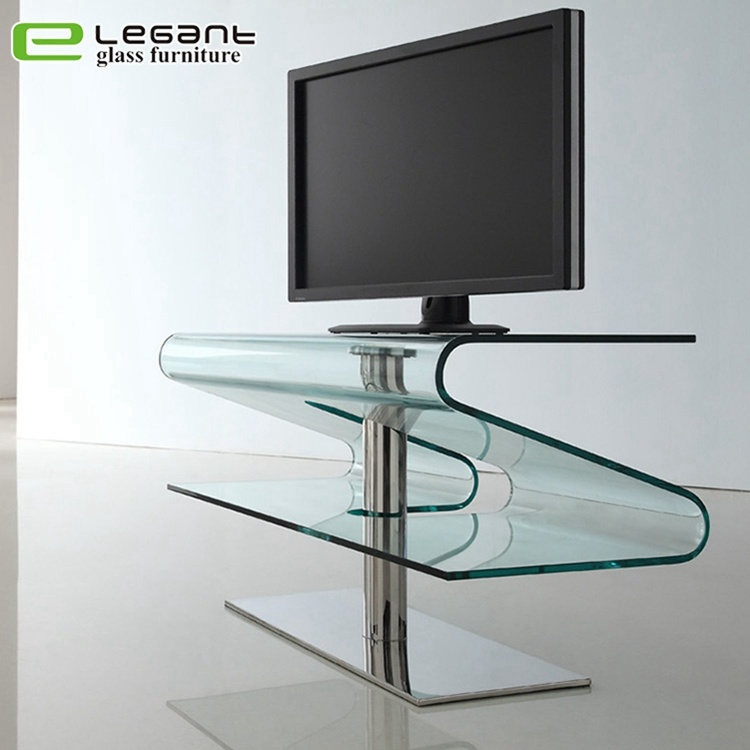 Modern Bent Glass Tv Stand With, Glass Table Stand For Tv