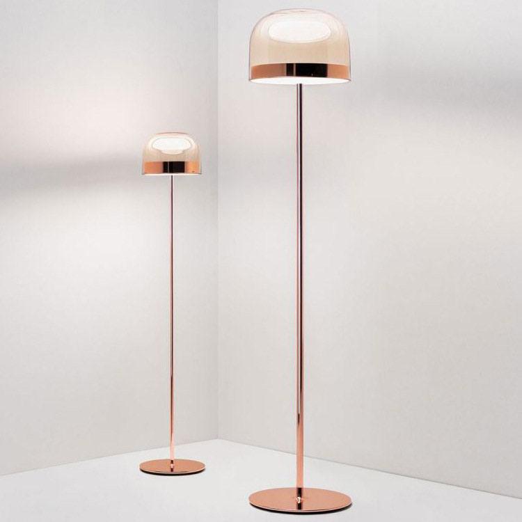 Hot Item Fashion Hotel Modern Glass Rose Gold Floor Lamp Lighting With Cognac Chrome Glass Shade