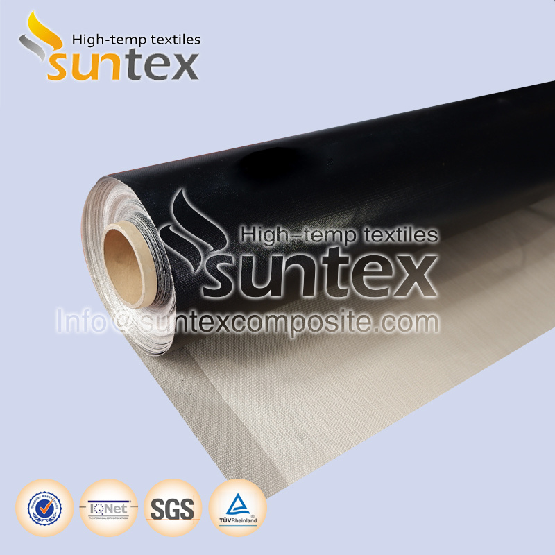 Flame Retardant Thermal Insulation Cover 0.43mm Black Fire Curtain Smoke Barrier Teflon Fiberglass Cloth pictures & photos