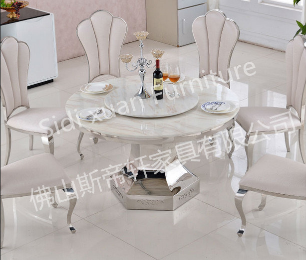7db7638410462 Elegant 5 Seaters Round Marble Glass Dining Table Home Furniture Cheap Price  (SJ825)