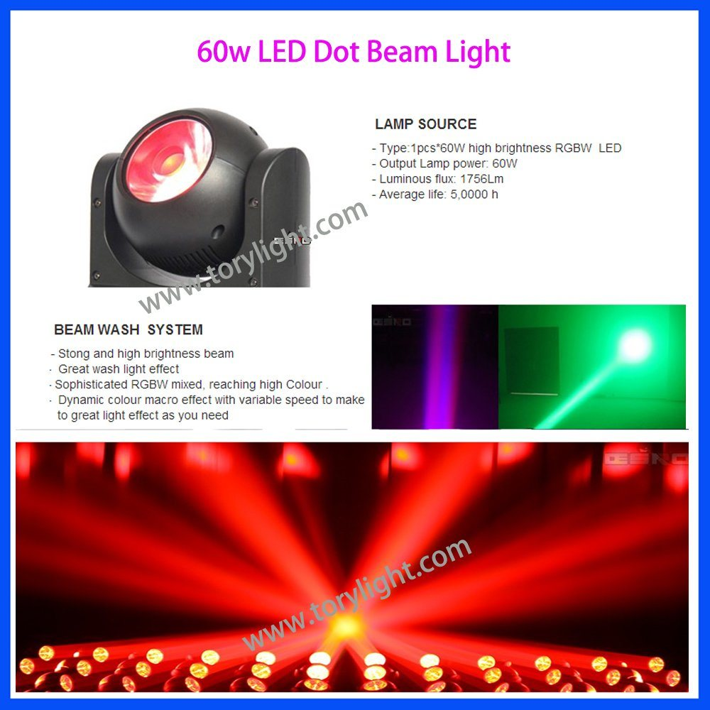 LED DMX 512 Stage Disco 60W Beam Moving Head Light pictures & photos