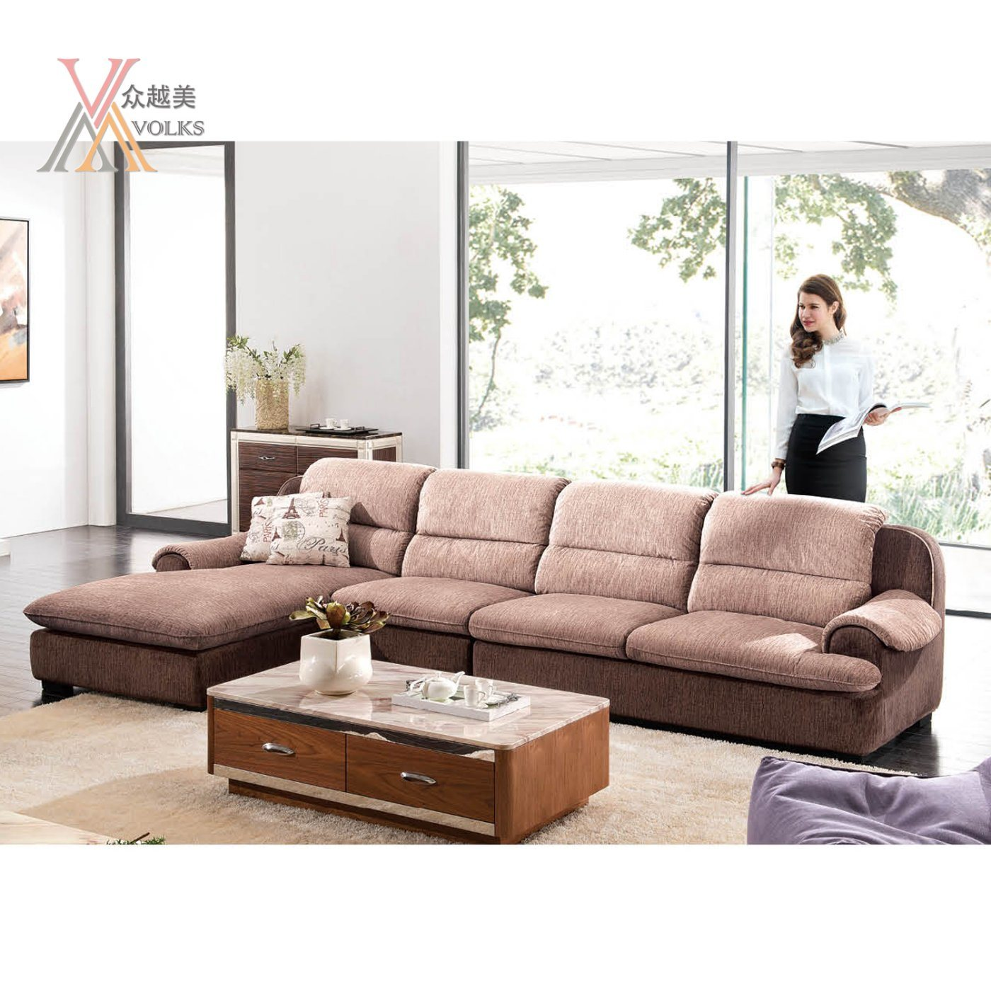China Brown Fabric Sectional Sofa (989A#) - China Fabric ...