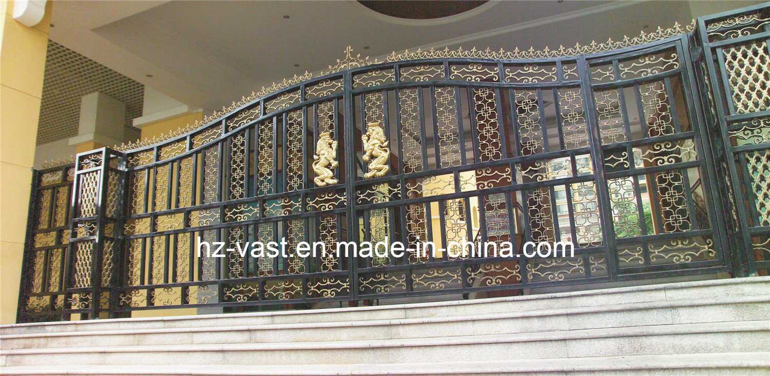 Haohan High-Quality Exterior Security Decorative Wrought Iron Fence Door 18 pictures & photos