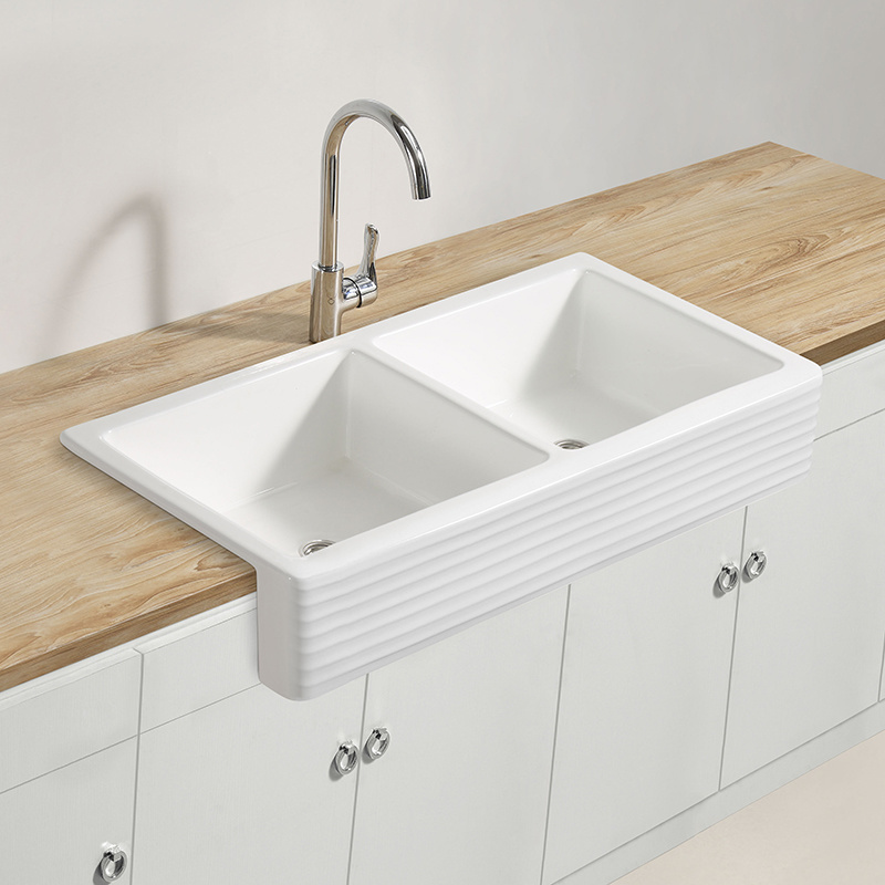 Double Bowl Hand Washing Porcelain Sink