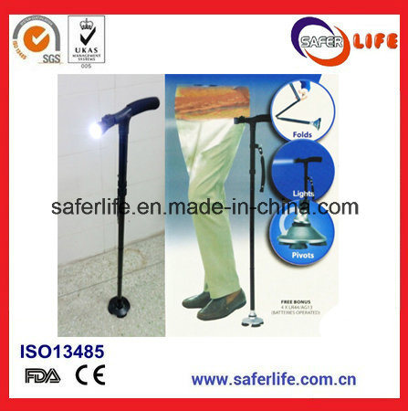 2018 New Product Saferlifer Red Aluminum Foldable Walking Cane with LED Light Walking Stick