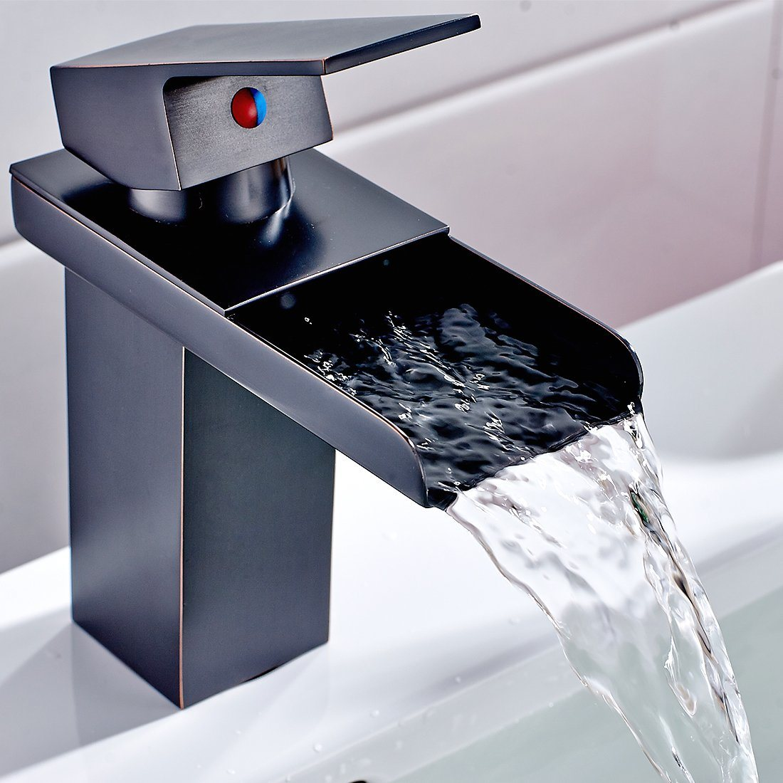 Flg unique sanitaryware basin waterfall bathroom faucet oil rubbed bronze black vessel faucet