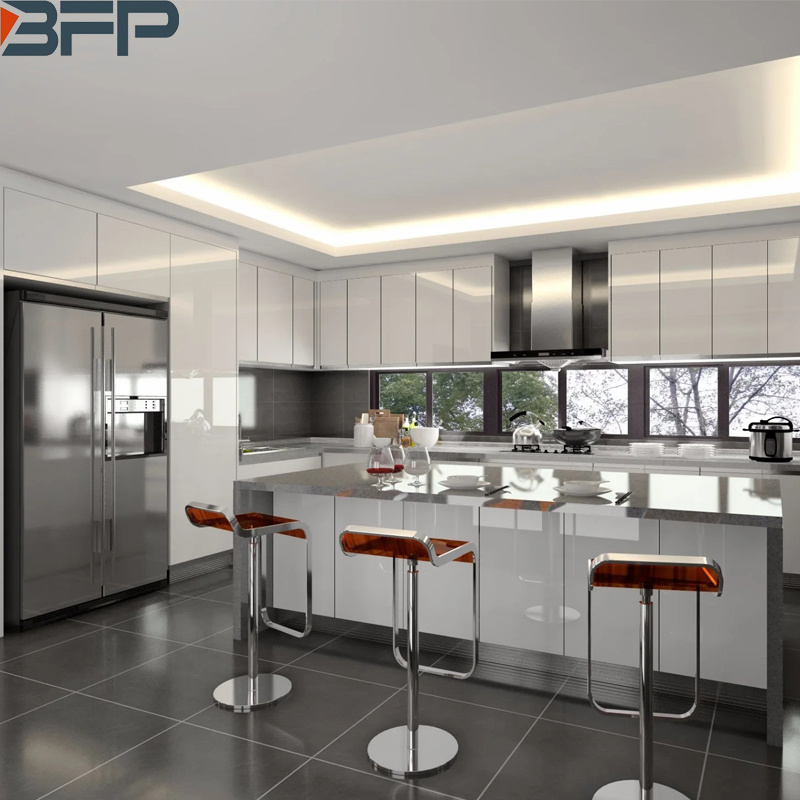 China 2020 Modern Design Customized Wooden White High Gloss Lacquer Kitchen Cabinet China Furniture Home Furniture