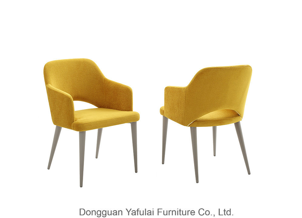 China Classic Hot Sale Yellow Fabric Dining Chair China Modern Furniture Restaurant Chair