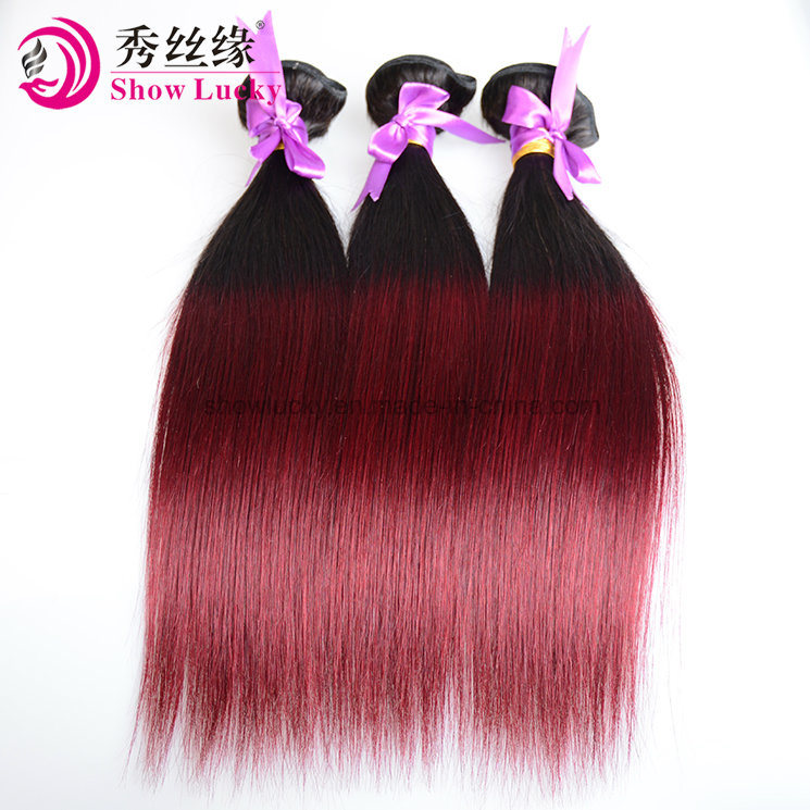 Hot Item Ombre Hair Extension Two Tone Color 1b 99j Red Remy 100 Human Hair Straight Peruvian Hair