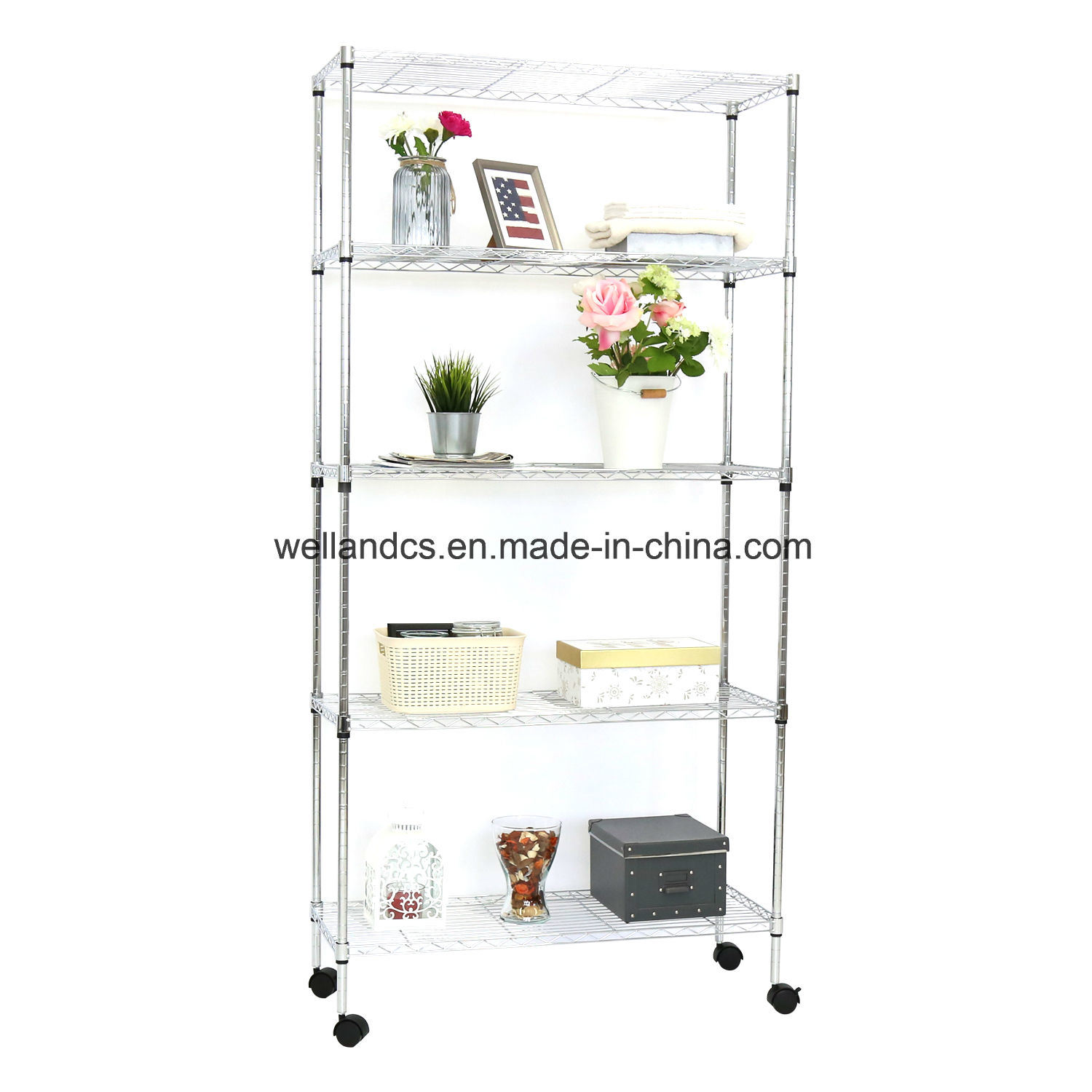China Easy Assembly 5 Tier Home Storage Shelf Wire Shelving