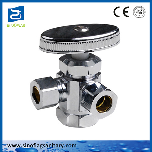 China Brass Multi-Turn Three Way Ball Dual Outlet Angle Valve ...
