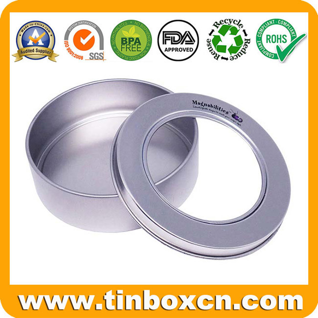 Chinese Factory Metalic Round Can Clear Window Tin for Candle Candy Gift Metal Packaging Box pictures & photos