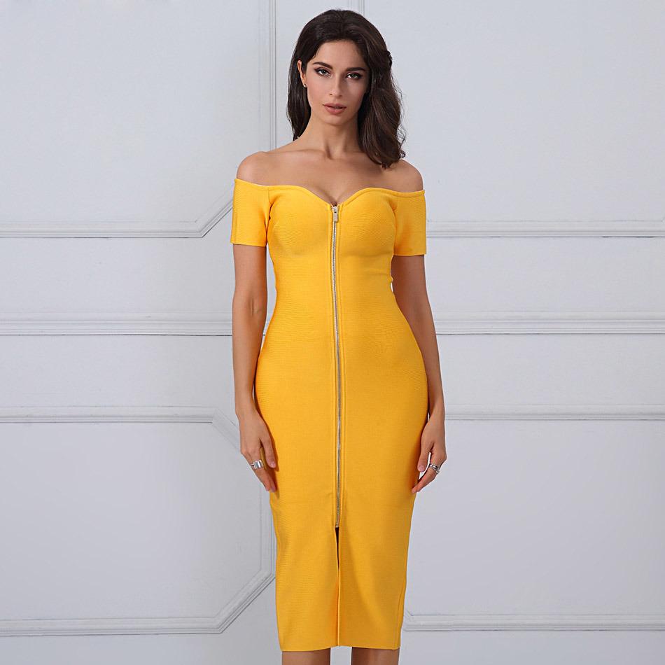 China Yellow Strapless Short Sleeves