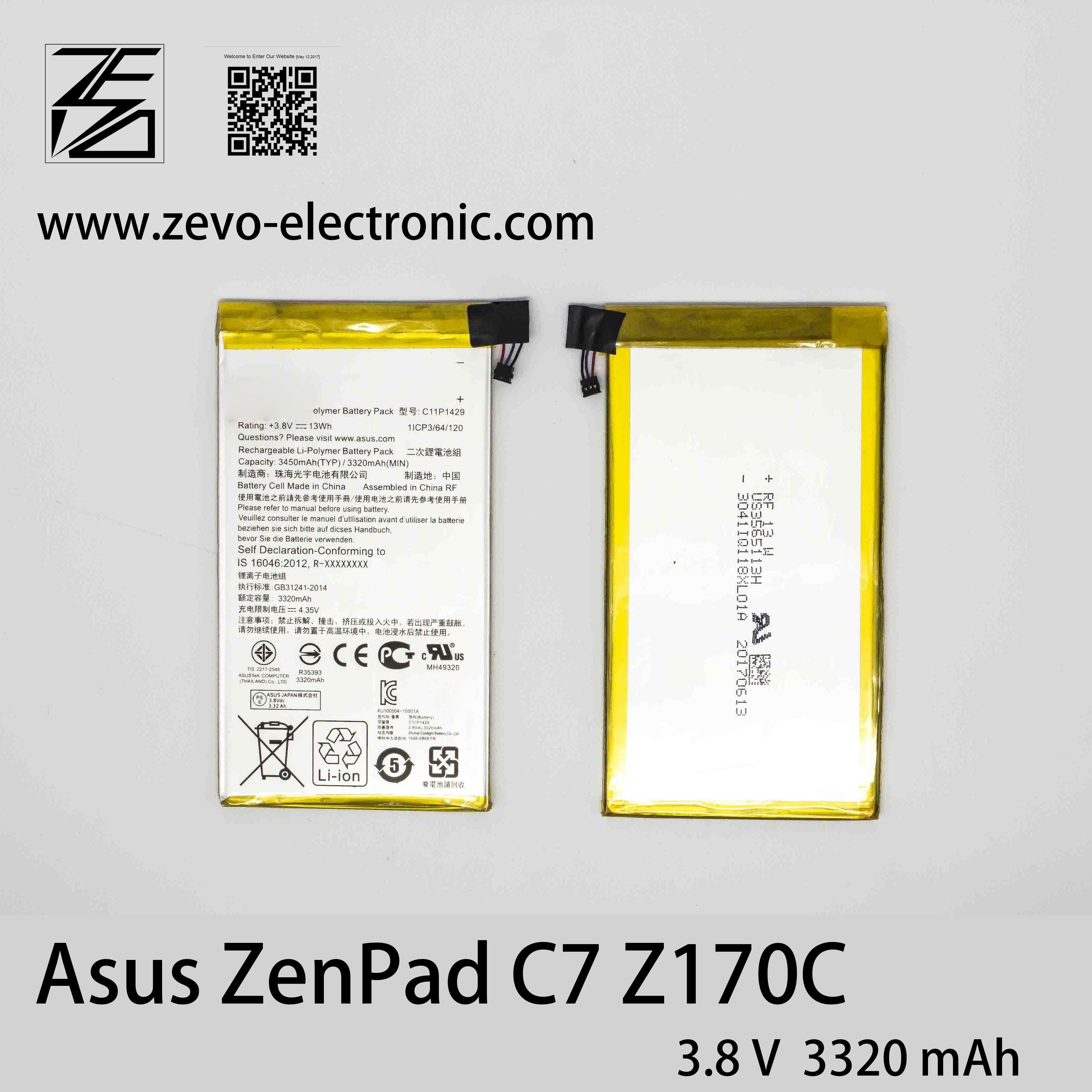 [Hot Item] 3 8V 3320mAh Original Phone Battery C11p1429 for Asus Zenpad C7  P01z Z170c