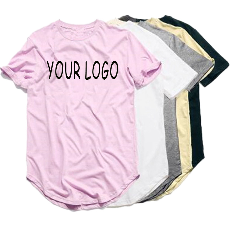 9a60fcbf Custom Summer Printing Blank White Curved Hem Tee Shirt Wholesale Short  Sleeve Mens Longline T Shirt with Private Label